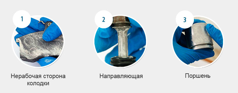 Подходит для направляющих, тормозного цилиндра, обратной стороны и торцов колодок.